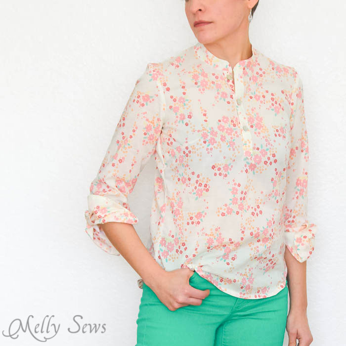 Love the sleeve detail - Palo Verdes organic voile top - Melly Sews #sewing