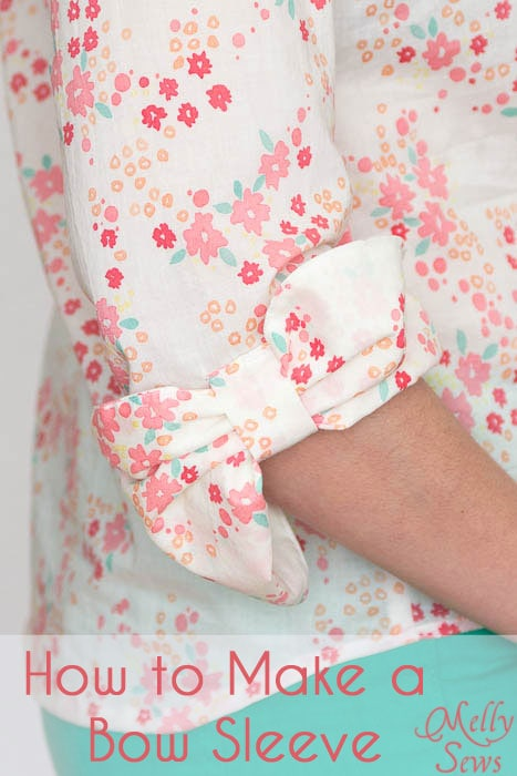 How to Make a Bow Sleeve - Bow Sleeve Tutorial on Palo Verdes organic voile top - Melly Sews #sewing