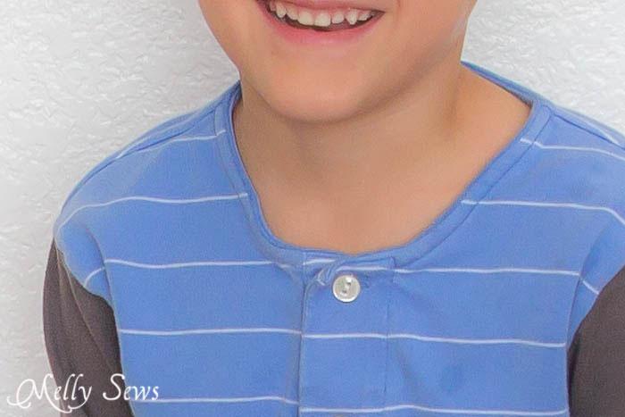 Cut off a knit polo collar to create a henley collar - Melly Sews