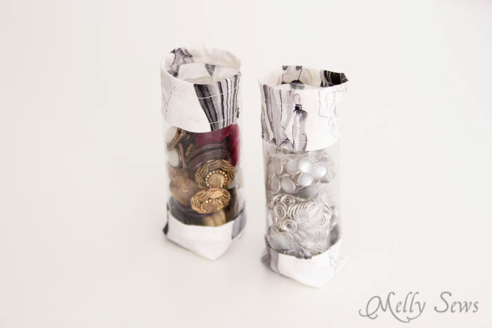 Easy storage for buttons and small sewing items - Sew storage tubes with a little fabric and vinyl - tutorial on mellysews.com