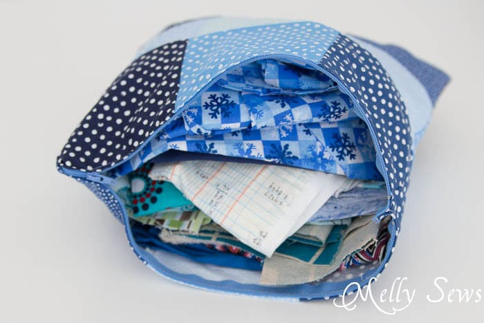 Use a zippered pillow to store scrap fabric - MellySews.com
