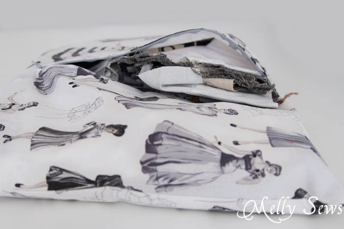 How to store your scrap fabric - inside pillows - genius! MellySews.com