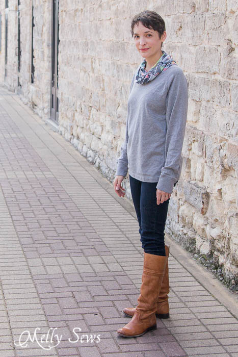 Cowl Neck shirt, jeans, boots. Love this! MellySews.com