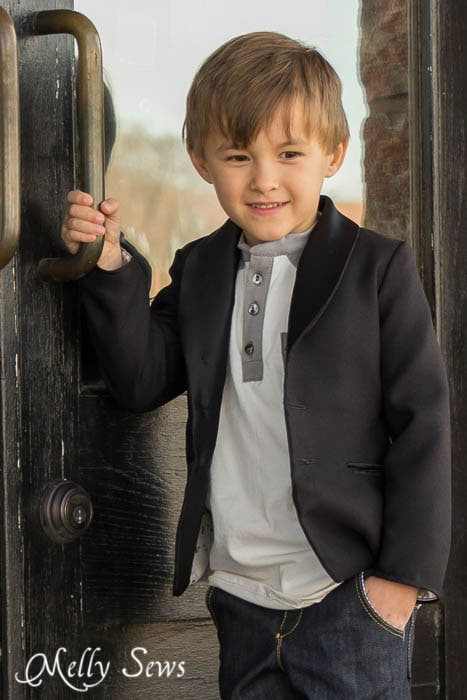 Berkshire Blazer - Shawl Collar Blazer Sewing Pattern for Boys  by Blank Slate Patterns - MellySews.com