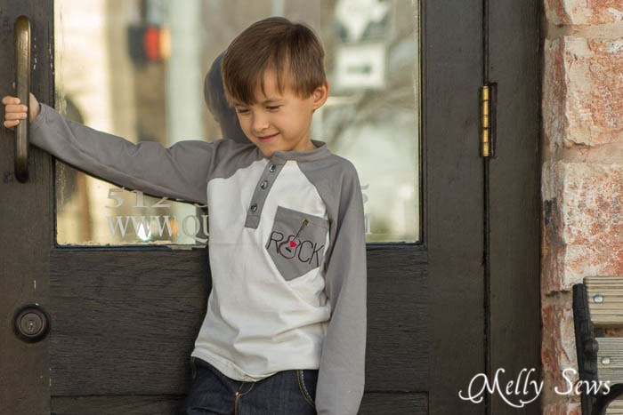 Raglan Henley T-shirt with embroidered pocket - MellySews.com - Great little boy fashion