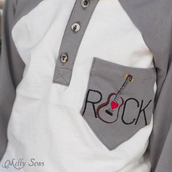 Embroidered pocket - Raglan Henley T-shirt - MellySews.com