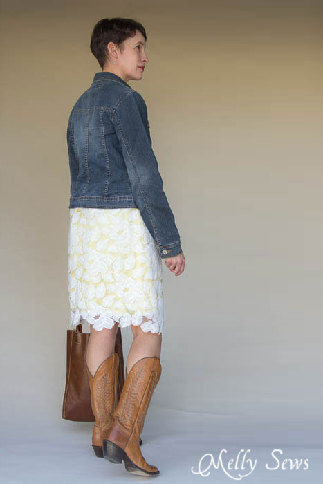 Texas classic look - lace dress over yellow slip, cowgirl boots, leather tote and jean jacket. Perfect! Lace Dress 3 Ways - MellySews.com