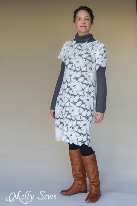 Love this look for winter - warm and pretty! Lace Dress 3 Ways - MellySews.com