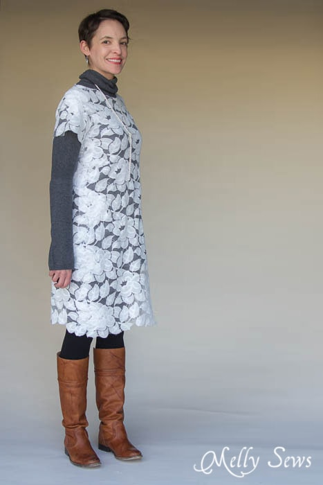 How to wear a lace dress for winter - over a turtleneck sweater dress with fleece lined leggings and boots Lace Dress 3 Ways - MellySews.com