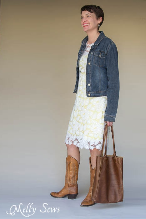 Great mix of styles, textures. Lace, denim and leather - Lace Dress 3 Ways - MellySews.com