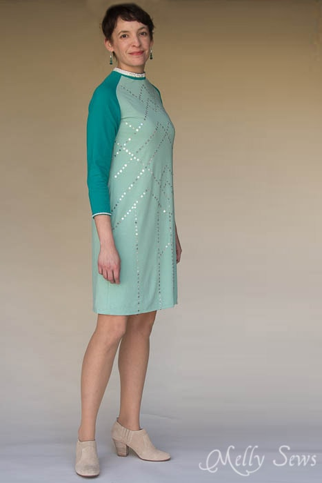 Knit raglan sleeve sequin dress - MellySews.com