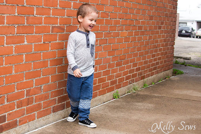 An easier way to sew patches on kid jeans - How to Patch Jeans - An easier way to mend knees with holes - MellySews.com