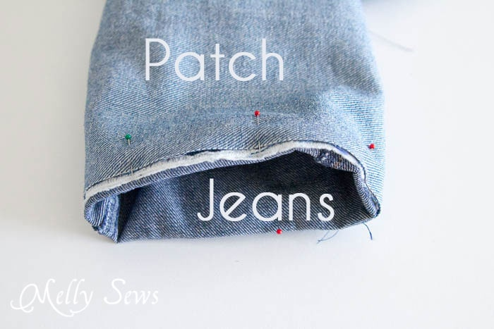 Step 2 - How to Patch Jeans - An easier way to mend knees with holes - MellySews.com