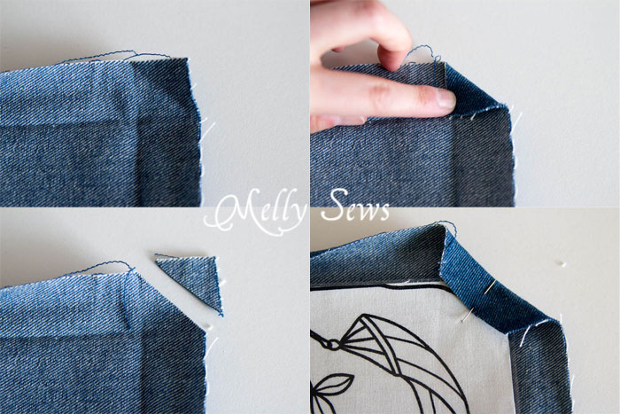 How to sew a mitered corner on placemats - MellySews.com