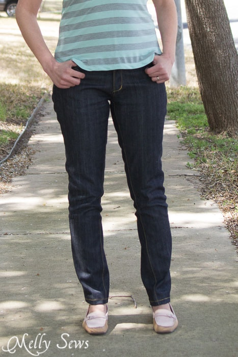 Close up - Jeans made from a rub off pattern - https://mellysews.com
