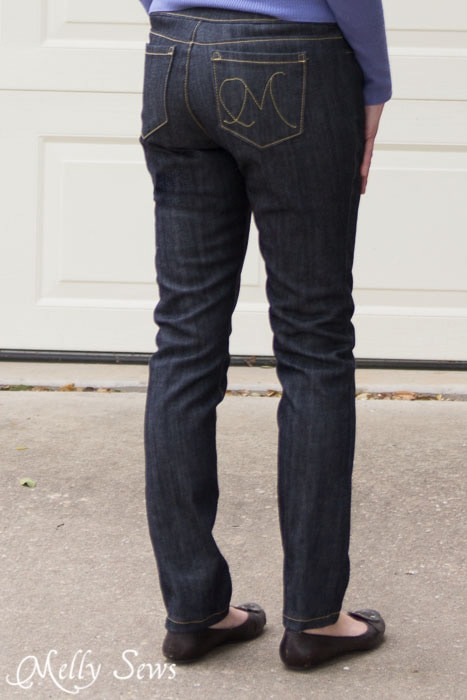Back view of sewn jeans - cSew Your Own Jeans - https://mellysews.com