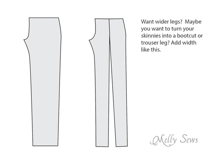Pattern alteration to change jean leg width -  https://mellysews.com