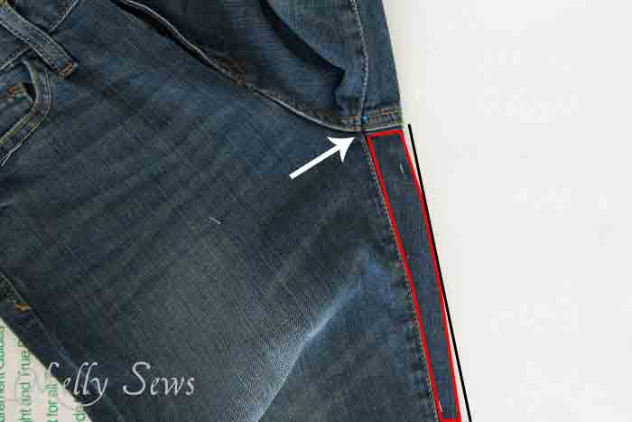 Don't forget the back of the back leg that wraps around to the front - rub off jeans pattern - https://mellysews.com