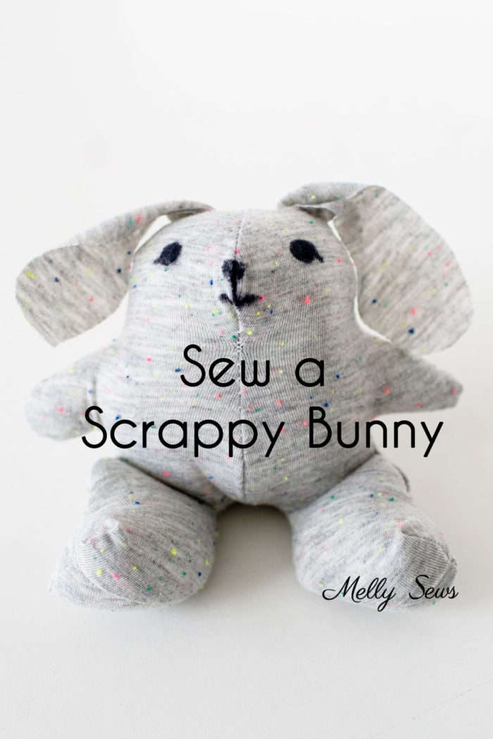 DIY Bunny Stuffy with a free plushie pattern to sew from scrap fabric