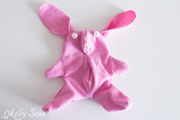 Step 6- T-shirt bunny tutorial with free pattern - https://mellysews.com