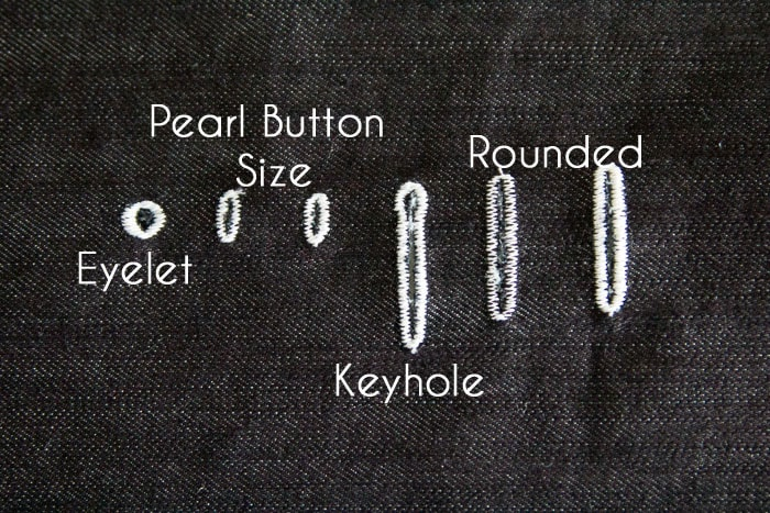 Types of buttonholes - How to Sew Buttonholes - https://mellysews.com