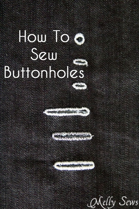 How to Sew Buttonholes - different sized buttonholes sewn on denim