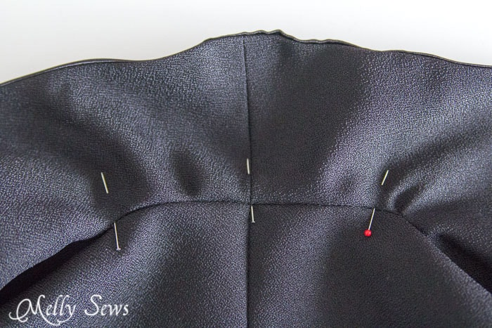 Stitch in the ditch to secure collar to facing - How to sew a Shawl Collar - http://mellysews.com