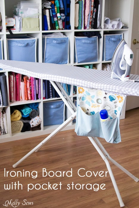 Ironing Board Cover Tutorial with Hanging Pocket Storage - http://mellysews.com