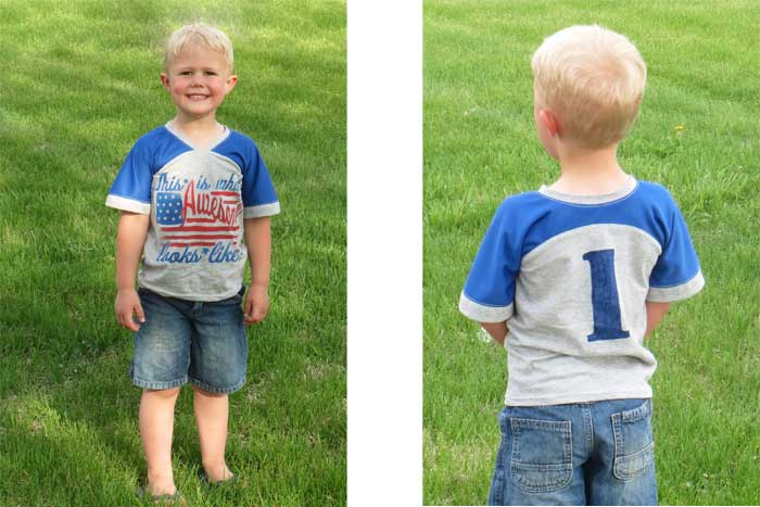 Upcycled version of the Just a Jersey Pattern - PDF Sewing Pattern for Boys and Girls by Blank Slate Patterns