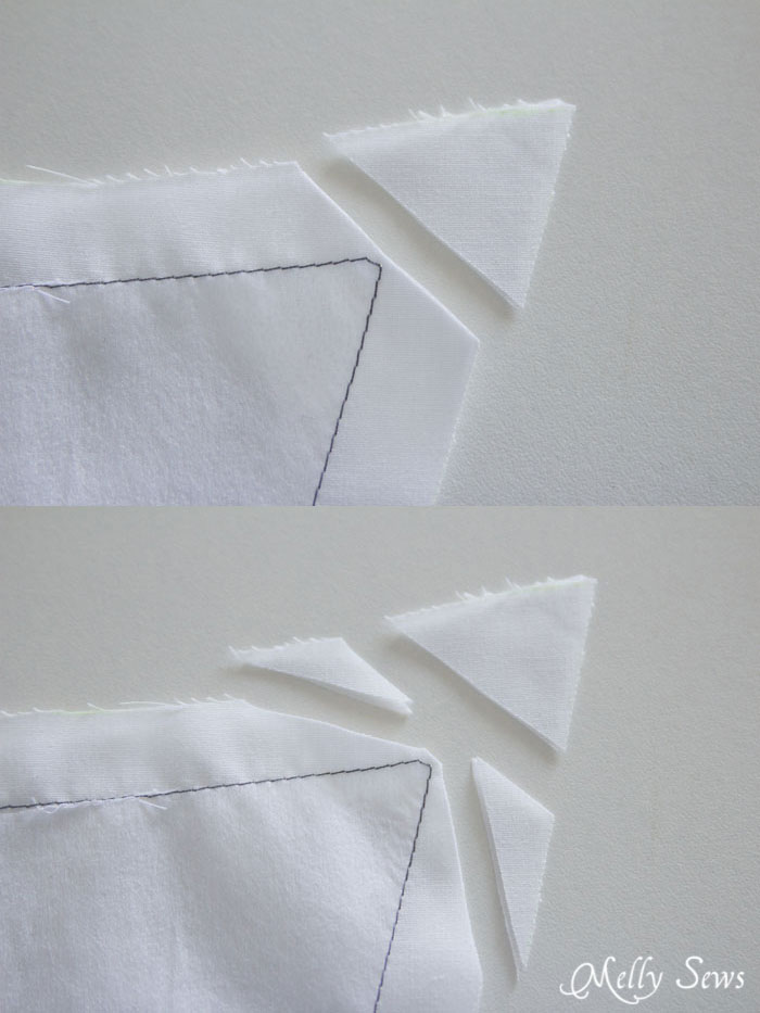 How to clip the corner - How to sew sharp points on collars - http://mellysews.com