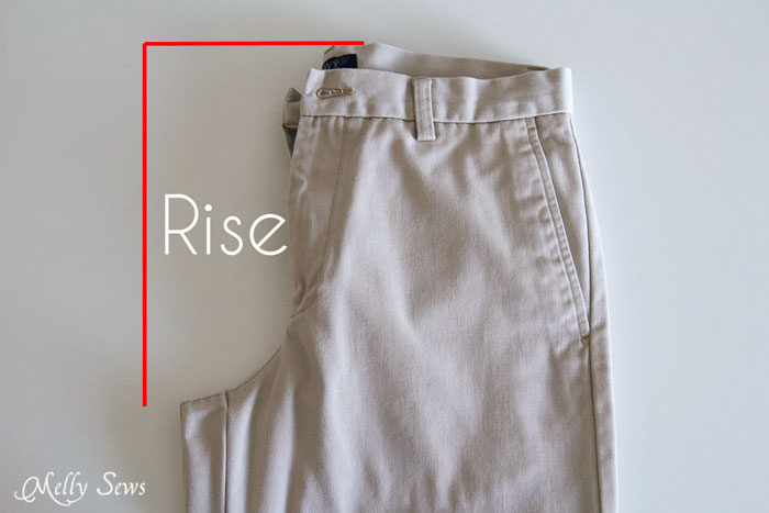 Measure the rise - How to draft mens shorts pattern - https://mellysews.com