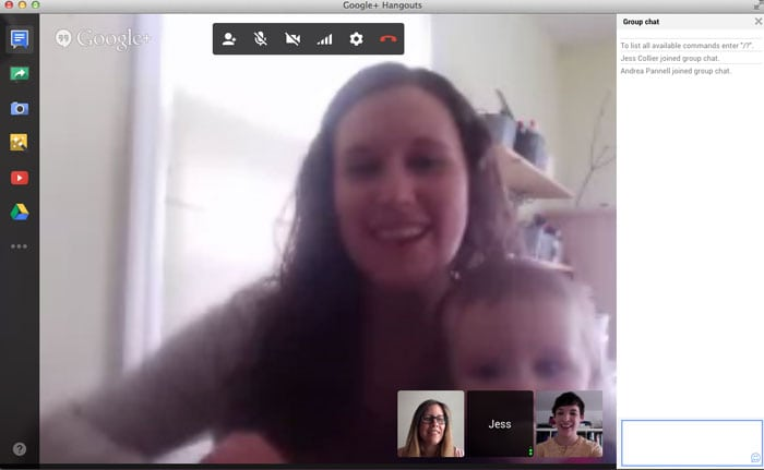 Screenshot from a G+ hangout - How to Google Hangout - Tech Tips - http://mellysews.com