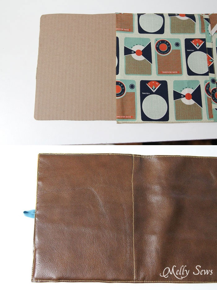 Step 9 - insert first piece of cardboard and stitch in place - Book Style iPad Case Tutorial by http://mellysews.com