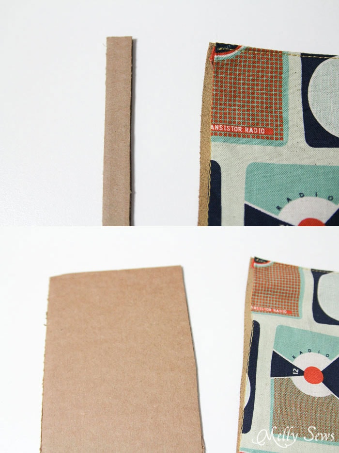 Step 10 - continue inserting cardboard and stitching in place - Book Style iPad Case Tutorial by http://mellysews.com