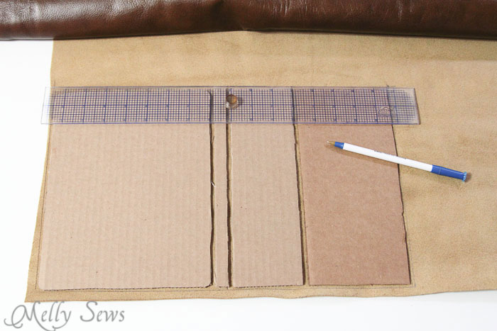 Step 2 - cut leather (or vinyl, pleater, etc) Book Style iPad Case Tutorial by http://mellysews.com