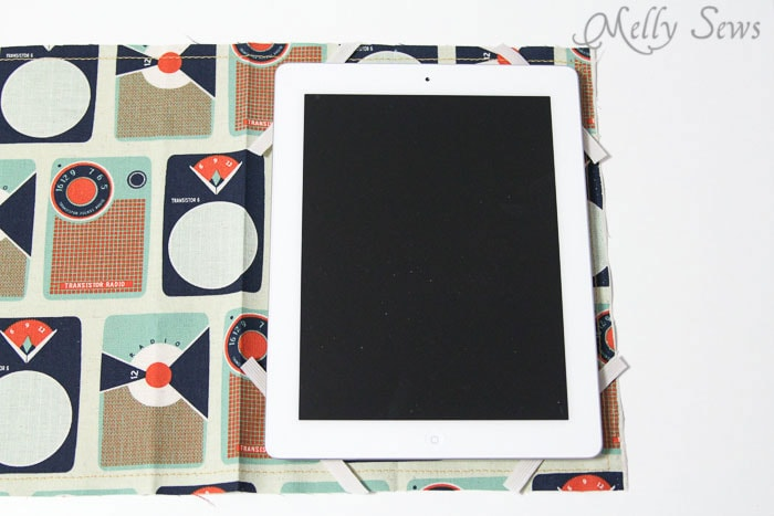 Step 5 - place elastic - Book Style iPad Case Tutorial by https://mellysews.com