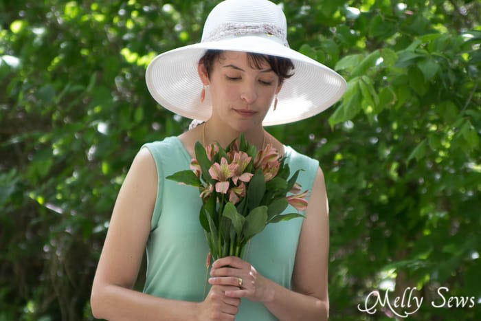 Hat, flowers, sundress - gorgeous summer style - Bow Back Dress Tutorial - http://mellysews.com