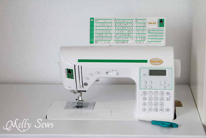 Baby Lock Elizabeth sewing machine in sewing table