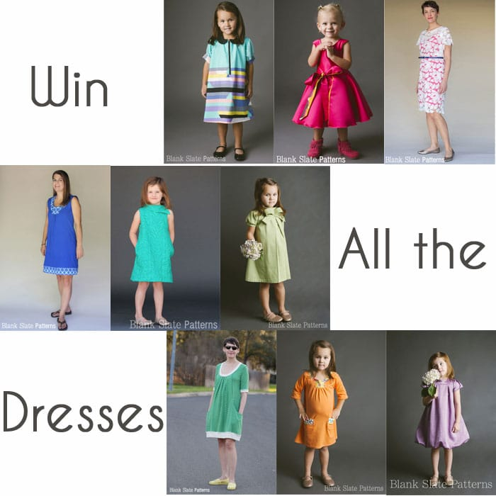 Win all 9 of Blank Slate Patterns Dress Sewing Patterns