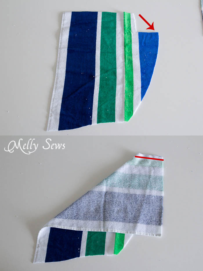 Step 1 - Swim Cover Tutorial - from 1 or 2 beach towels - Melly Sews