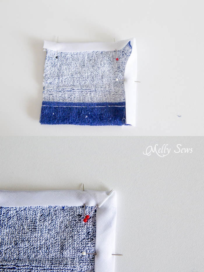 Fold Bias tape around corner - Swim Cover Tutorial - from 1 or 2 beach towels - Melly Sews