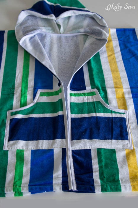 Pockets and bias binding - Swim Cover Tutorial - from 1 or 2 beach towels - Melly Sews