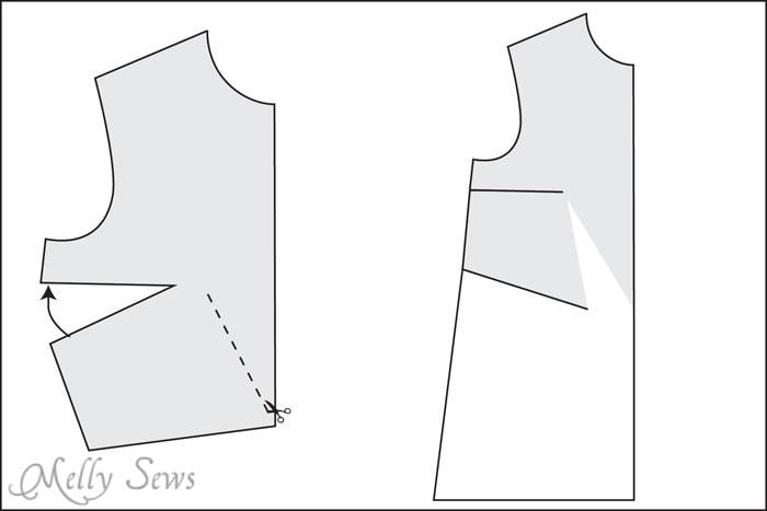 how to add diamond dart to dress back