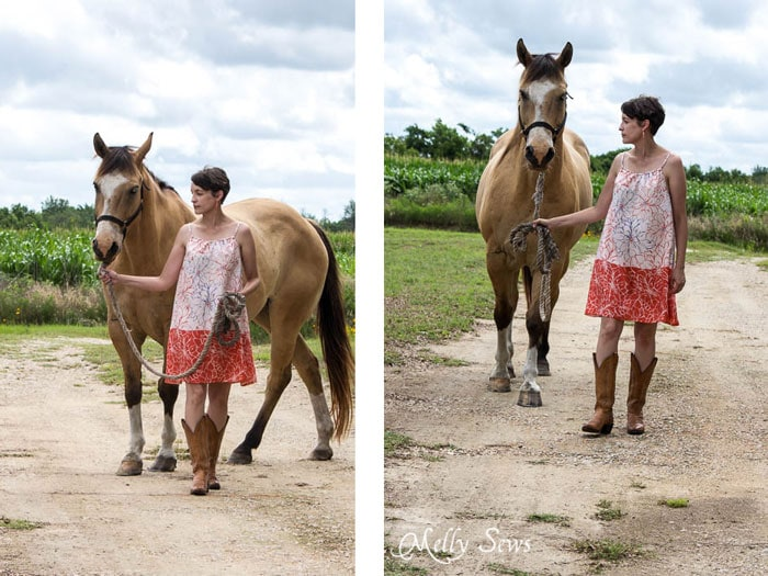 Buckskin horse, girl in boots and a dress - Women's Pillowcase Dress Tutorial - mellysews.com