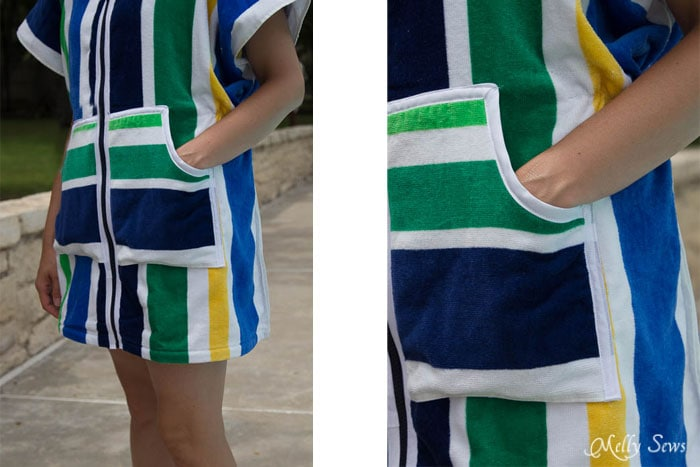 Gotta have pockets! - Swim Cover Tutorial - from 1 or 2 beach towels - Melly Sews