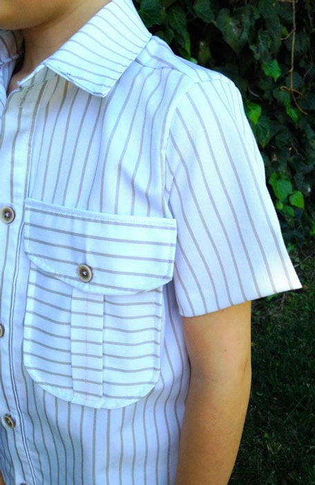 Stripes on Bookworm Button Up Sewing Pattern for Boys and Girls - Blank Slate Patterns