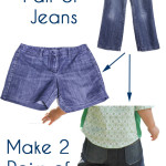 How to turn one pair of jeans into two pairs of shorts - Melly Sews - Hem Cutoffs