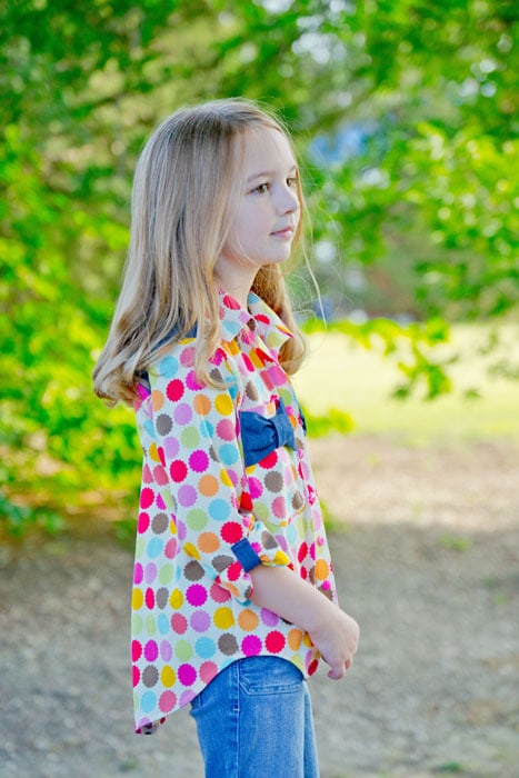 Polka Dot View C - Bookworm Button Up Sewing Pattern for Boys and Girls - Blank Slate Patterns