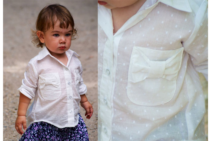 Swiss Dot version - Bookworm Button Up Sewing Pattern for Boys and Girls - Blank Slate Patterns