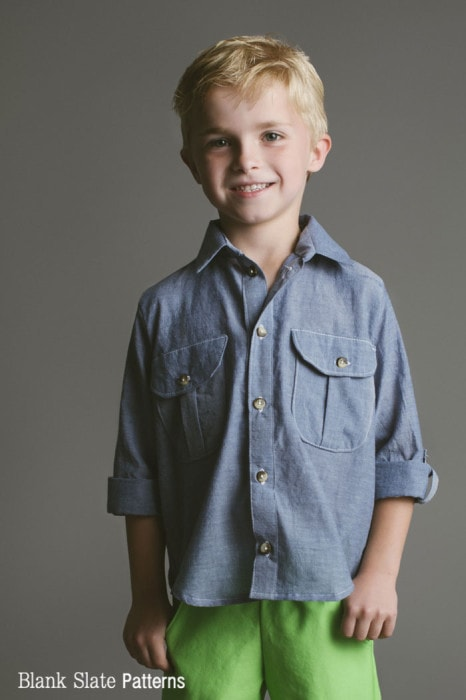Boys - Bookworm Button Up Sewing Pattern for Boys and Girls - Blank Slate Patterns